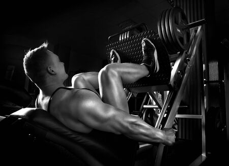 human muscle: Muscle man push ups in fitness center