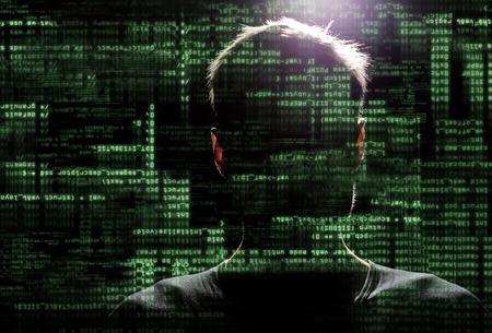 Silhouette of a hacker uses a command on graphic user interface Imagens - 31176884