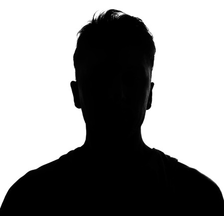 male face profile: silhouette Stock Photo