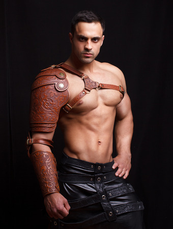 armour: Man in leather armor