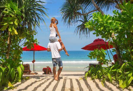 thai: Happy couple on the sand Thailand beach
