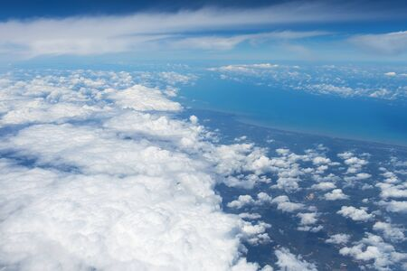 sidelight: Clouds in blue sky.Earth of Thailand