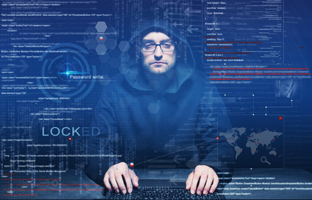 Computer Code: hacker at work with graphic user interface around Stock Photo