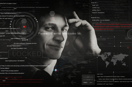 interface: hacker silhouette with graphic user interface around Stock Photo