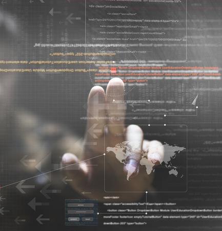 hacker hand with graphic user interface around