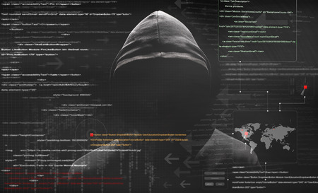 attacks: hacker at work with graphic user interface around Stock Photo