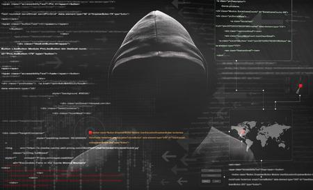 hacker at work with graphic user interface around Foto de archivo