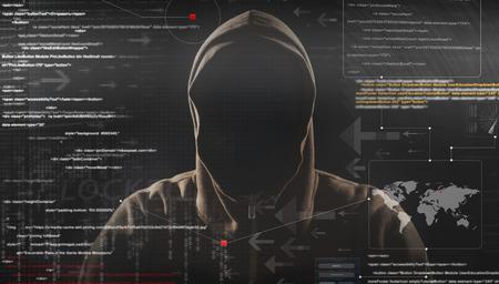 hacker at work with graphic user interface around Archivio Fotografico