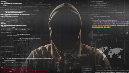 incognito: hacker at work with graphic user interface around Stock Photo