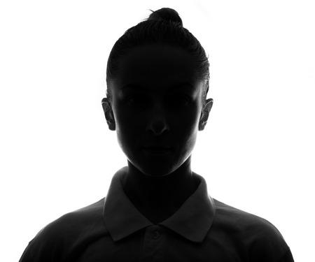 sexo femenino: Cara oculta. tiro silhouette.studio femenina. aislado en blanco
