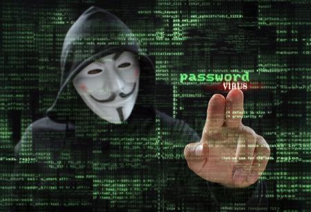 hacker at work with graphic user interface around Stockfoto