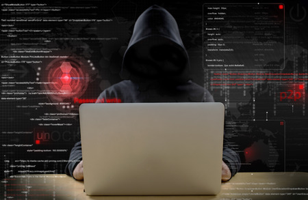 hacker at work with graphic user interface around Banque d'images