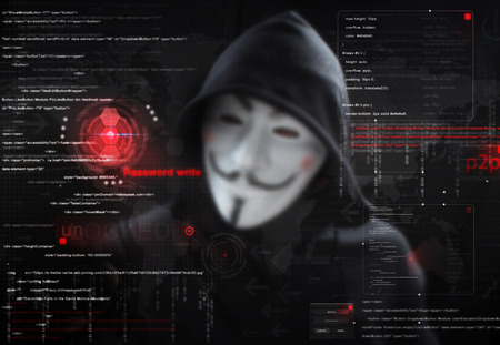 crime: hacker at work with graphic user interface around Stock Photo