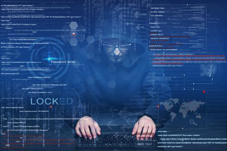 hacker op het werk met grafische user interface rond