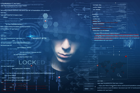 blackmail: hacker at work with graphic user interface around Stock Photo