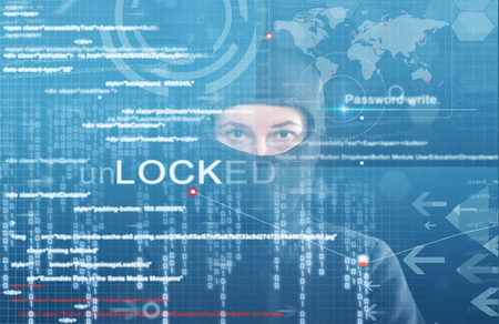 hacker at work with graphic user interface around Standard-Bild