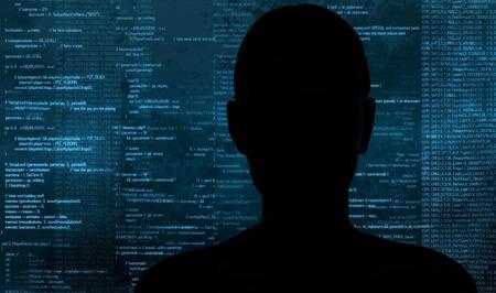 silueta hombre: pirata informático en el trabajo con la interfaz gráfica de usuario en todo Foto de archivo