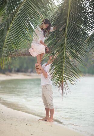 thailand beach: Happy couple on sand beach of Thailand Stock Photo