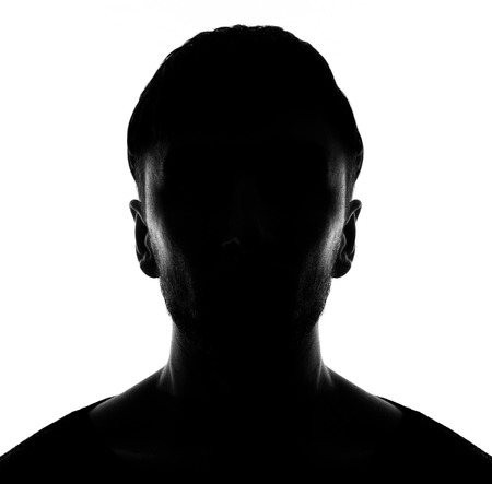 man profile: Hidden face in the shadow.male person silhouette