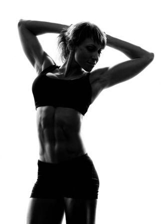 body torso: Fitness girl posing on white background Stock Photo