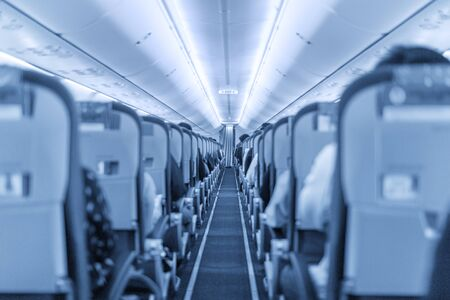 jet plane: Back view on the seats in the economy class cabin