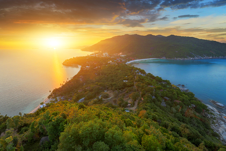 Sunset on the Koh Phangan island,Thailand Stock Photo