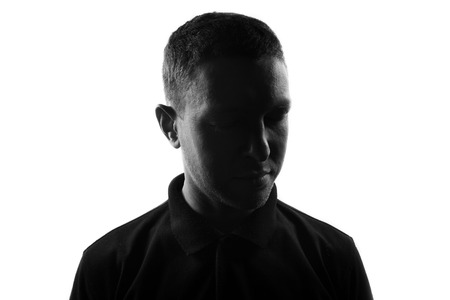 Male person silhouette over white Stockfoto