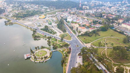 Aerial view from the drone to Dalat city.  Located on the Langbian Plateau in the southern parts of the Central Highlands region of Vietnam Banco de Imagens