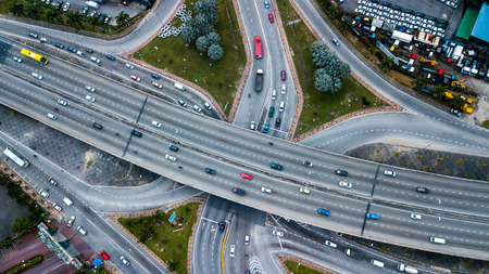 Aerial  shot,view from the drone on the road junction of Kuala-Lumpur,Malaysia Stock Photo