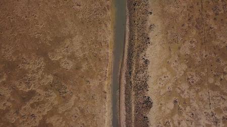 Above the Sand Desert Surface Aerial view