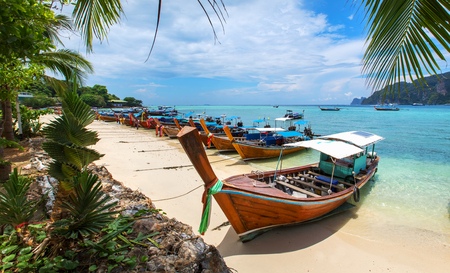 Decorated thai longtail taxi boats at Phi Phi island