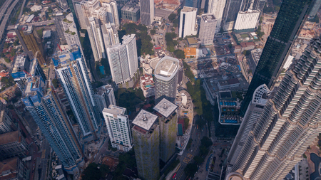 Aerial view on the Kuala Lumpur down town area Editorial