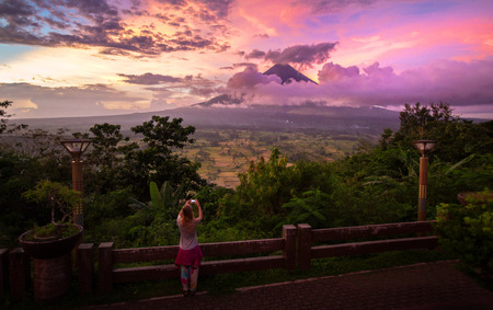 Tourist take a photo of Mayon volcano  landcape,Philippines