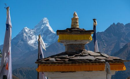 Ama Dablam view in the way to mount Everest , Khumbu valley, Sagarmatha national park, Nepal