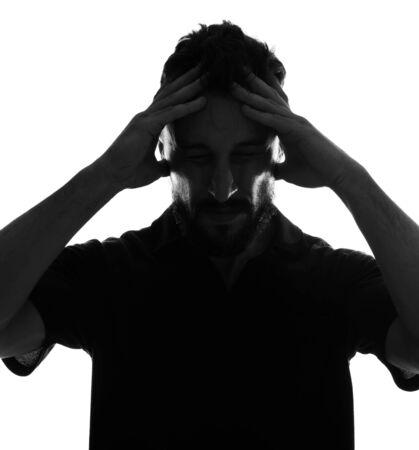 Dramatic profile portrait of male person over white