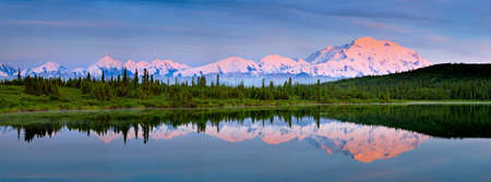 denali: Mount McKinley refkectin in Wonder Lake  at Denaki national Park Alaska Stock Photo