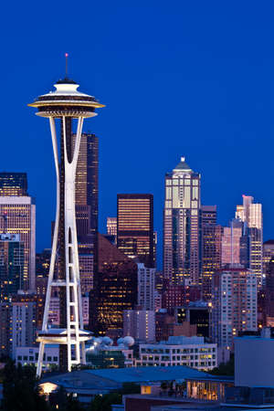 Space Needle tower in Seattle skyline
