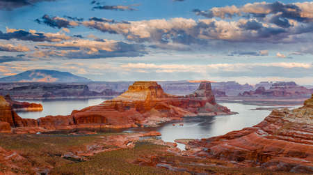 arizona scenery: Lake Powell-the second largest man-made lake in the United States is the playground for Page, Arizona, and nearly three million visitors annually  Stock Photo