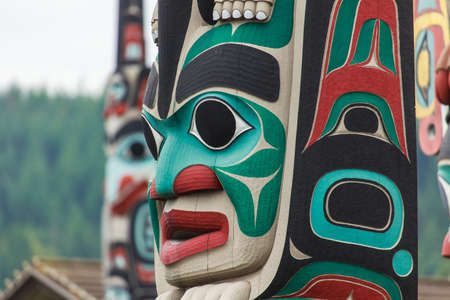 northwest indian art: Totem pole by North American Native indians