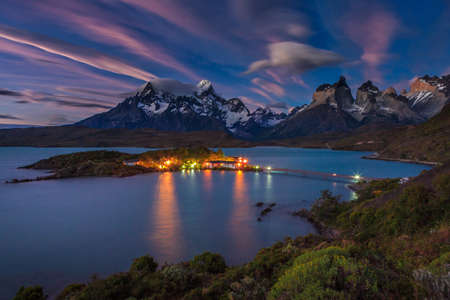 Epic beauty of the landscape - the National Park Torres del Paine in southern Chile. Stock Photo