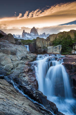 puerto natales: Fitz Roy view with waterfall located at Argentinian Patagonia