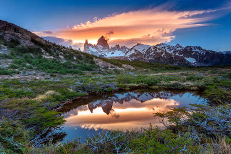 puerto natales: Fitz Roy view with reflection in pond, located at Argentinian Patagonia
