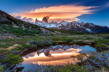 sarmiento: Fitz Roy view with reflection in pond, located at Argentinian Patagonia
