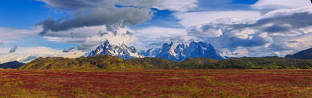 await: Breathtaking Views Await You at the End of the World at Chilean Patagonia Stock Photo