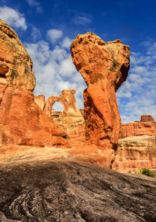 to dominate: The Angel Arch span stretches over an opening of 120 by 135 feet and is one example of the fanciful shaped rock sculptures in this section of Canyonlands National Park. The Utah park hosts a jumbled up collection of rock features, including dominate sands