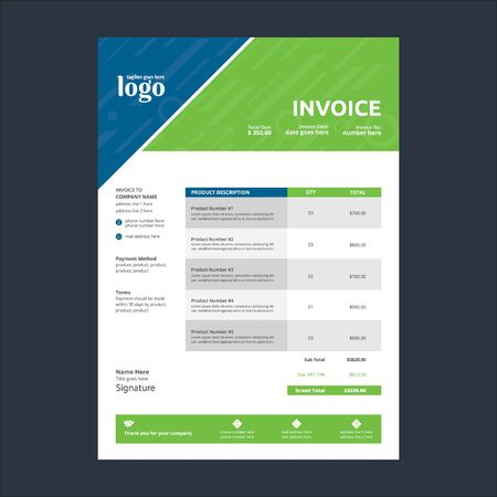 Invoice Template for any type of corporate use Stock Illustratie
