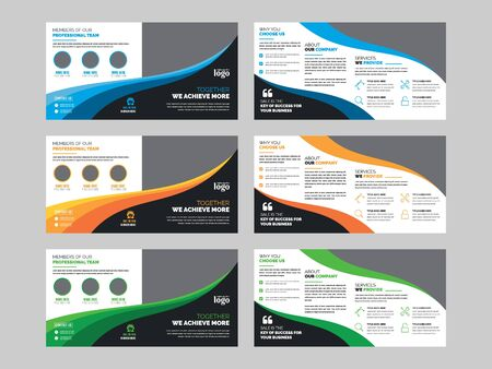 Square Bifold Brochure Design Template for any type of corporate use Vector Illustratie