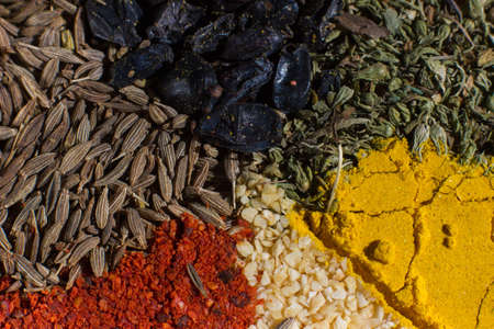 Colorful macro spices set with different spices