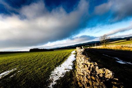 drystone: Drystone wall & Winter hills Stock Photo