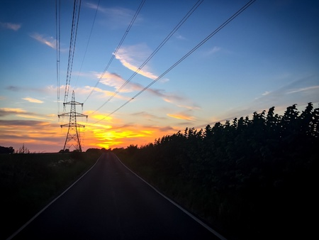 Power lines & sunset